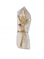 Blue Leaves Blue Leaves Set of 4 Gold Plated Napkin Ring OLIVIER-20