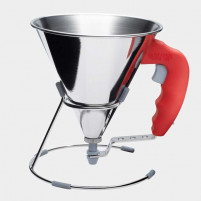 de Buyer de Buyer Mini stainless steel piston funnel 0.8 L Red-20
