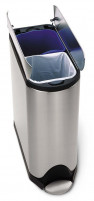 Simplehuman Simplehuman 40L Butterfly Step Trash and Recycling Can Stainless-Steel-20