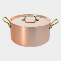 de Buyer de Buyer Stewpan in copper-stainless steel with lid and brass handles-20