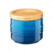 Le Creuset Le Creuset Marseille Blue Sugar bowl with wood lid-20