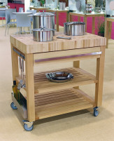Cristel Cristel COOKMOBIL 90cm. Wood top Wooden shelves and drawer-20