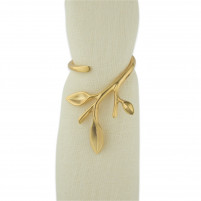 Blue Leaves Blue Leaves Set of 4 Gold Plated Napkin Ring BRANCH-20