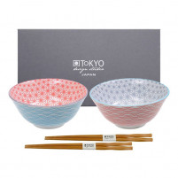 Tokyo Tokyo STAR WAVE Set of 2 Bowls Light Blue/Pink-20