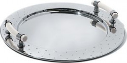 Round tray with white handles