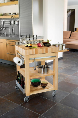 COOKMOBIL 60cm. Wood top Wooden shelves and drawer