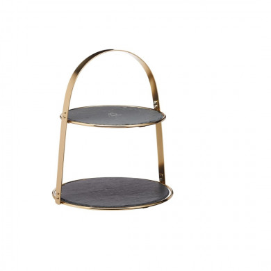 Slate and Bronze Serving Stand