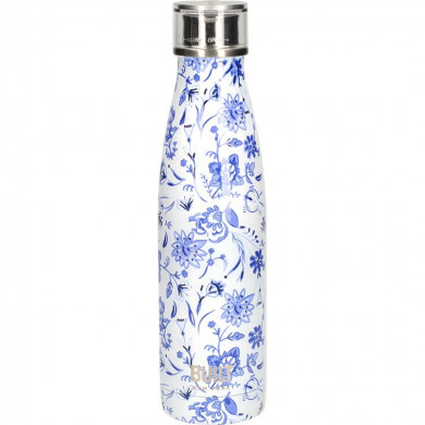 Water Bottle with double wall 500ml Blue Floral Built