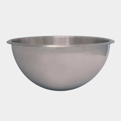 Stainless steel hemispherical bowl, without base or handles