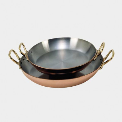 Round dish in copper-stainless steel