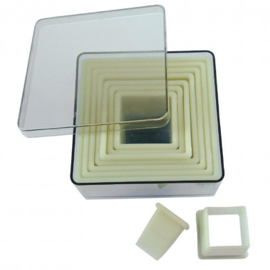Box of 9 square fluted pastry cutters in food-grade plastic