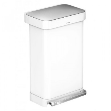 Rectangular Pedal Bin White 45L
