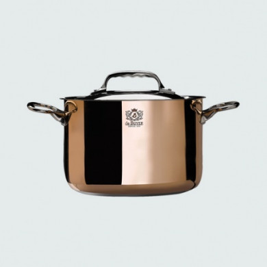 High copper pot with lid 24 cm