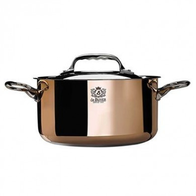 Copper Cacerole pan with magnetic bottom with lid INDUCTION