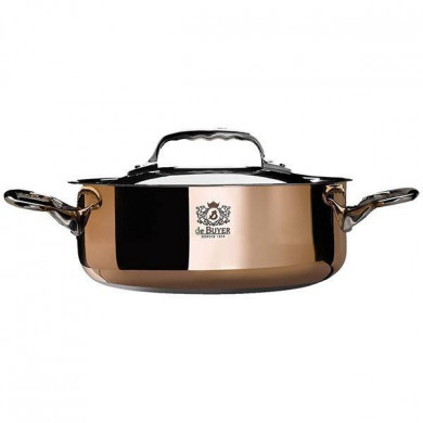 Copper Saute pan with magnetic bottom with lid INDUCTION