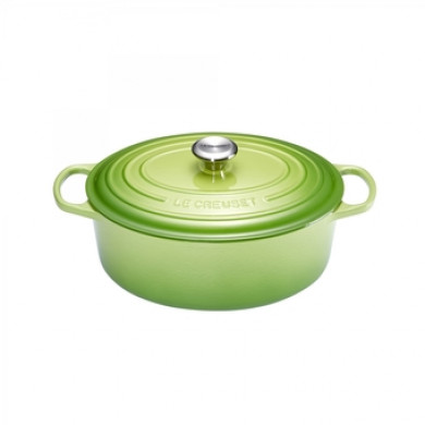COCOTTE Cast iron Oval Casserole Green Palm