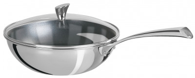 CASTELINE FIXE Excalibur Base Wok with Rounded Glass Lid