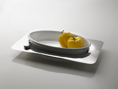 Oval Tray with porcelain dish ACQUA