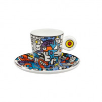 Billy the artist Billy the artist Taza de Porcelana con plato CASUAL CONVERSATION-20
