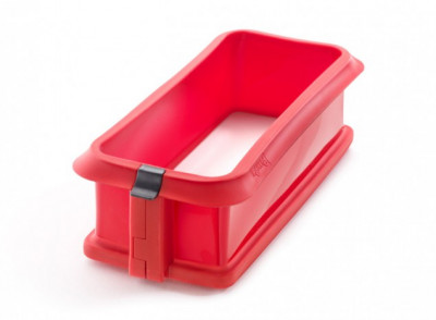 Molde rectangular desmontable rojo, 24 cm